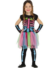 disfraz de esqueleto de colores para nia